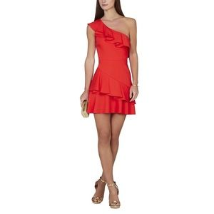 NWT BCBGMAXAZRIA Calinda One-Shoulder Ruffle Dress